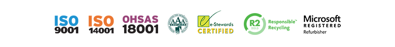 e-Stewards Certified, R2 2013, NAID AAA, ISO 14001, ISO 9001, OHSAS 18001, Microsoft Registered Refurbisher
